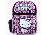"Sanrio Hello Kitty School Backpack 16"" Large Bag - Black Pink Stamps"