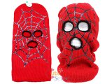 Marvel Red Spider Web Mens Ski Mask Beanie - Full Face Costume Mask