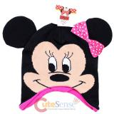 Disney Minnie Mouse Big Face  Earflap Beanie Hat with 3D Ear : Pink Bow