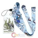 Disney Frozen Olaf Sven Lanyard Keychain with  ID Holder
