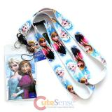 Disney Frozen Elas Anna Sister Lanyard Keychain with ID Holder