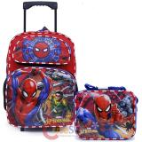 "Marvel Spiderman 16"" Large School Roller Backpack Lunch Bag 2pc Book Bag Set"