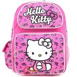 "Sanrio Hello Kitty School Backpack: 16"" Large Bag - Face All Over Pink"